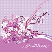 Stock Illustration of happy birthday card with pink and white flowers