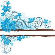 Brown grunge banner with turquoise flowers Stock Illustration