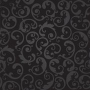 Seamless black and grey swirls floral wallpaper Stock Illustration