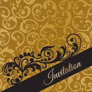 Luxury black and gold invitation card with swirls Stock Illustration
