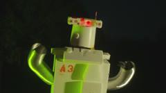 Retro futuristic robot robotic  night 2 Stock Footage