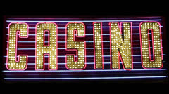 Flashing Neon 'Casino' Sign Stock Footage