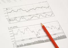 stock graphs and pencil - stock photo