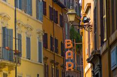 Bar sign in the street of rome Stock Photos