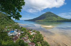 gunung api volcano, banda islands, indonesia - stock photo