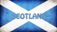 Stock Illustration of flag of scotland stitched with letters
