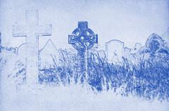 drawing of a celtic cross on a graveyard - stock illustration