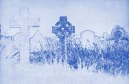 Stock Illustration of drawing of a celtic cross on a graveyard