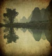 Grunge image of yulong river, guangxi province, china Stock Illustration