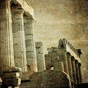 Stock Illustration of vintage image of greek columns, acropolis, athens, greece