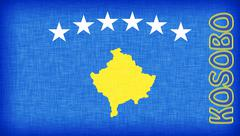 linen flag of kosovo - stock illustration