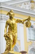statue of perseus with the head of the gorgon medusa, petergof, saint petersb - stock photo