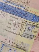 passport with kenyan visa and stamps - stock photo