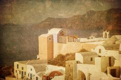 vintage image of oia village at santorini island, greece - stock illustration