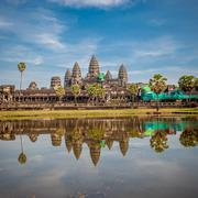 Angkor wat temple at sunrise, cambodia Stock Photos