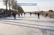 Stock Photo of iceskating the elfstedentocht