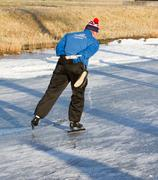 iceskating the elfstedentocht - stock photo