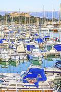 Yachts and boats in the port of Antibes, Cote d'Azur Stock Photos