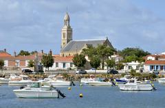 Port and church of Saint-Gilles-Croix-de-Vie de Vie in France - stock photo