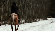 Female cowboy rides a horse at a gallop Stock Footage