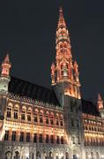 Brussels City Hall (Hotel de Ville) in Grand Place - stock photo
