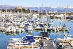 Boats in the port of Antibes, Cote d'Azur Stock Photos