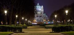 View of the Basilica of the Sacred Heart in Brussels from Parc Elisabeth - stock photo