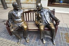 Franklin D. Roosevelt & Winston Churchill statue in London - stock photo