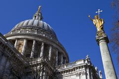 Stock Photo of St. Pauls Cathedral and Statue of Saint Paul in London