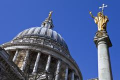 St. Pauls Cathedral and Statue of Saint Paul in London Stock Photos