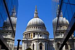 View of St. Paul's Cathedral in London. Stock Photos