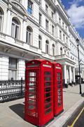 British Red Telephone Boxes in London - stock photo
