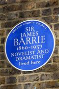 Stock Photo of Sir James Barrie Blue Plaque in London