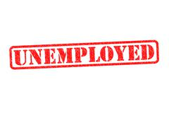 UNEMPLOYED rubber stamp - stock photo