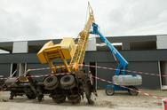 Stock Photo of collapsed mobile tower crane (holland)