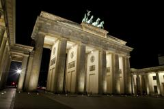 Brandenburg gate at night in Berlin - stock photo