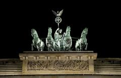 The Statue ontop of Brandenburg Gate in Berlin - stock photo