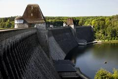The Mohne Dam (Möhne Dam) in the Ruhr Valley - Germany. - stock photo
