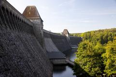 A view of the Möhne Dam (Mohne Dam,) in the Ruhr Valley in Germany. Stock Photos