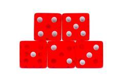 five transperant  red dice - stock photo