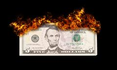 burning five dollar bill symbolizing careless money management - stock illustration