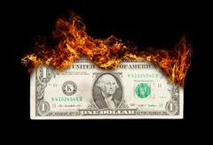 burning dollar bill symbolizing careless money management - stock illustration