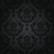Luxury black floral damask vintage wallpaper Stock Illustration