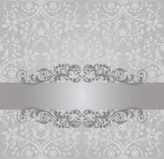Seamless silver wallpaper and vintage swirls banner Stock Illustration