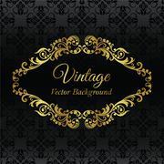 Gold vintage frame on black background Stock Illustration