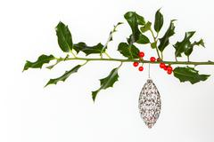 Very old silver christmas ball hanging from a twig (butchers broom) Stock Photos