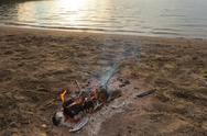 Campfire at beach Stock Photos