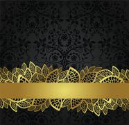 Seamless black wallpaper and golden lace banner Stock Illustration
