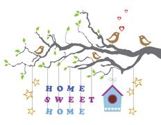 Home sweet home moving-in new house greeting card Stock Illustration