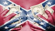 Stock Photo of sweaty girl covered her breast with money, confederate flag
